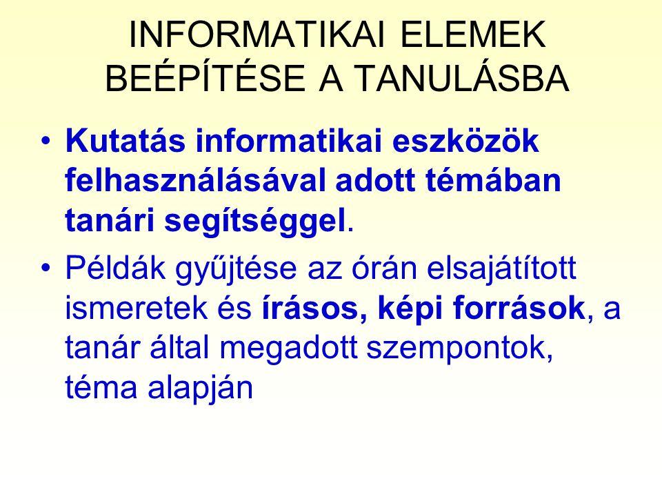 INFORMATIKAI ELEMEK BEÉPÍTÉSE A TANULÁSBA