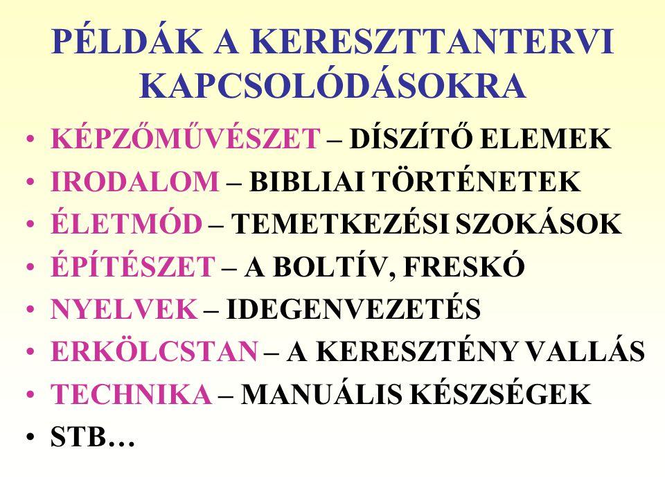 PÉLDÁK A KERESZTTANTERVI KAPCSOLÓDÁSOKRA