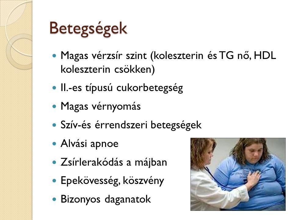 Betegségek Magas vérzsír szint (koleszterin és TG nő, HDL koleszterin csökken) II.-es típusú cukorbetegség.