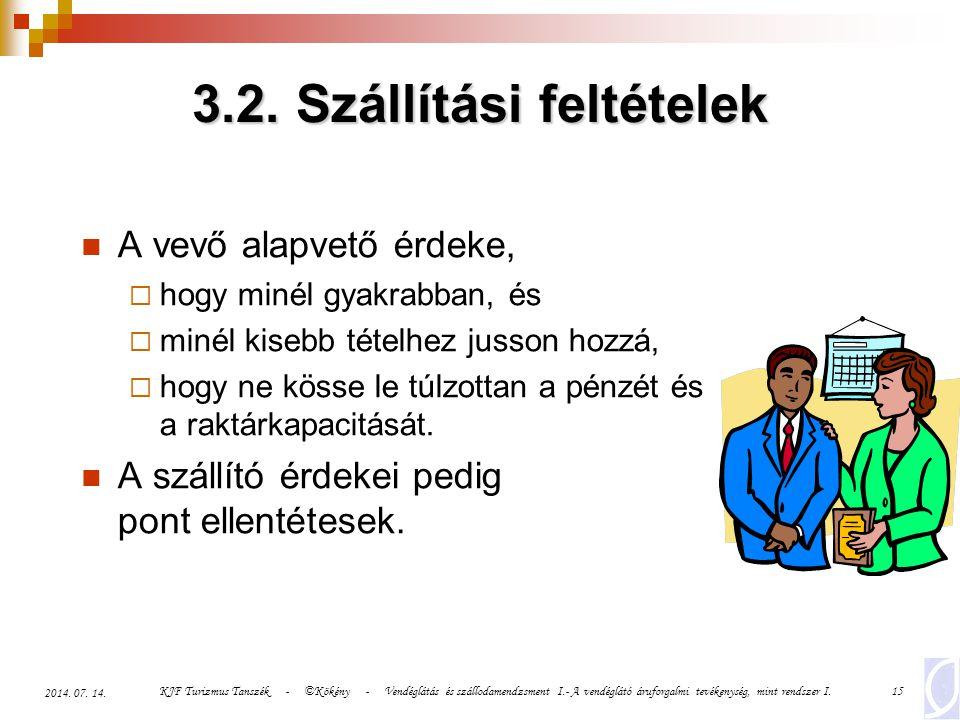 3.2. Szállítási feltételek
