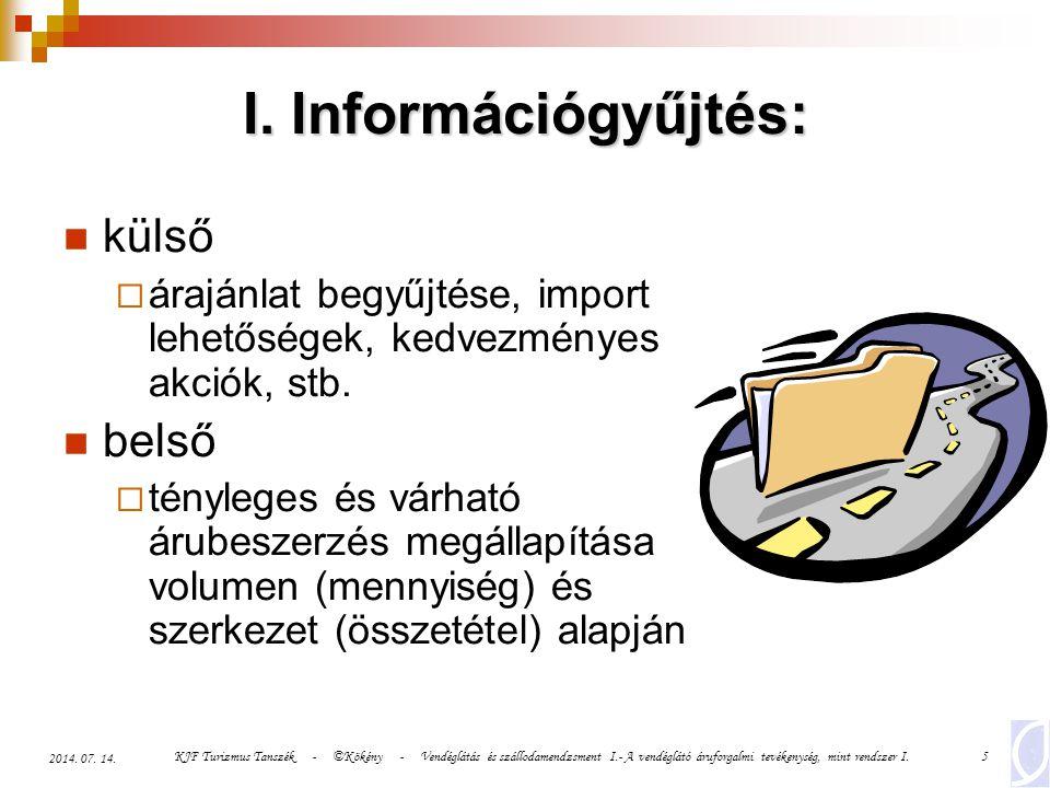 I. Információgyűjtés: külső belső
