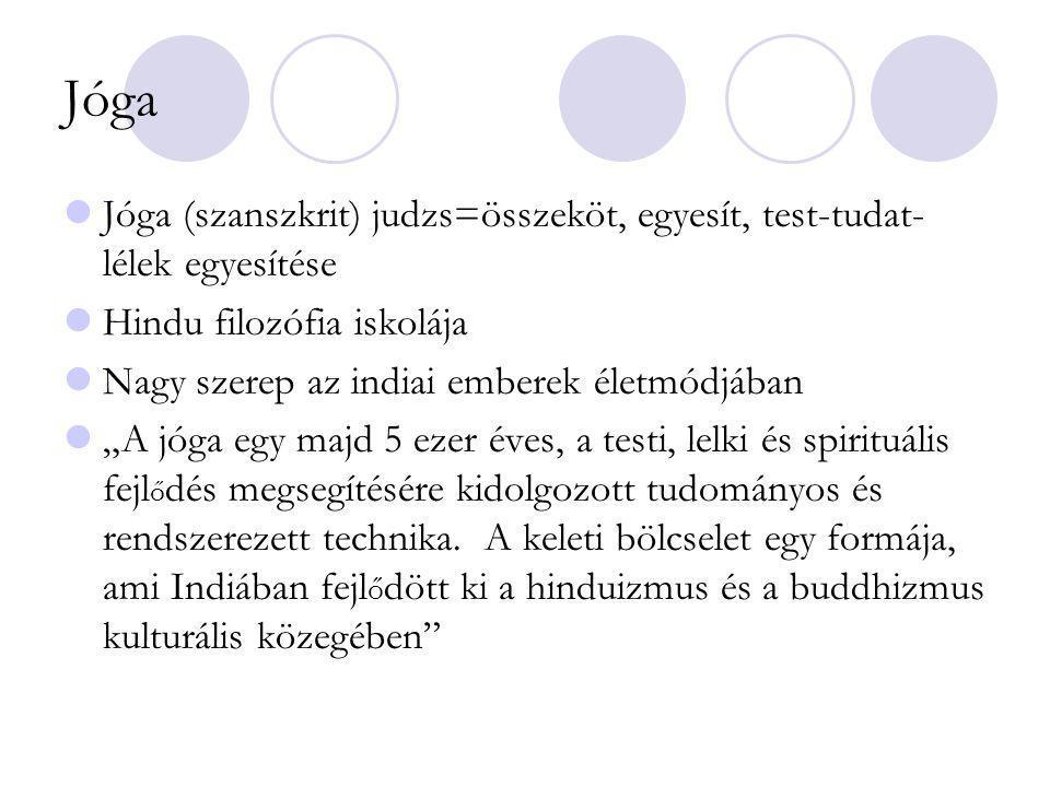 Jóga Jóga (szanszkrit) judzs=összeköt, egyesít, test-tudat-lélek egyesítése. Hindu filozófia iskolája.