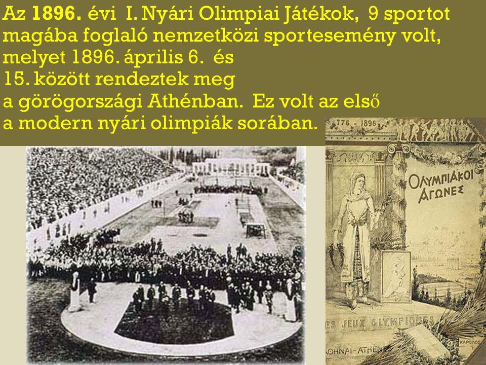 Az 1896. évi I. Nyári Olimpiai Játékok, 9 sportot magába foglaló nemzetközi sportesemény volt, melyet 1896. április 6. és