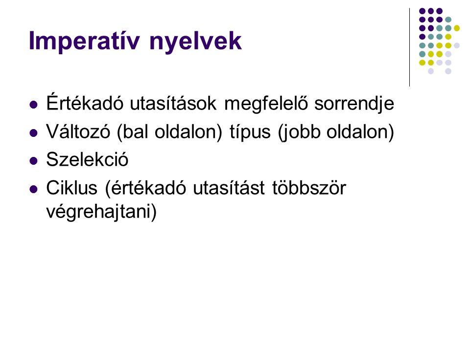 Imperatív nyelvek Értékadó utasítások megfelelő sorrendje