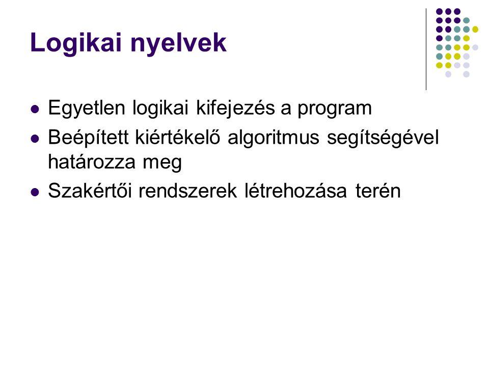 Logikai nyelvek Egyetlen logikai kifejezés a program