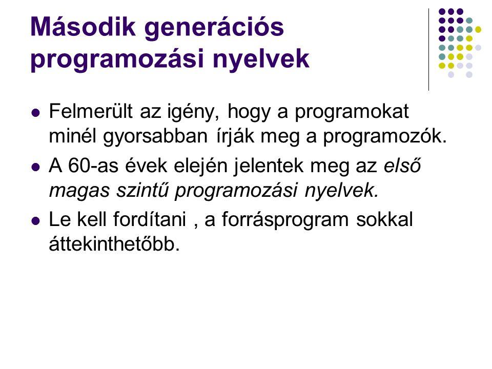 Második generációs programozási nyelvek