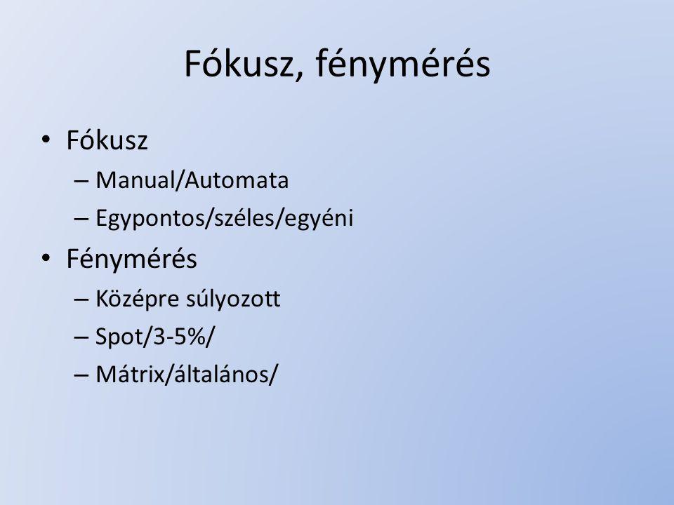 Fókusz, fénymérés Fókusz Fénymérés Manual/Automata