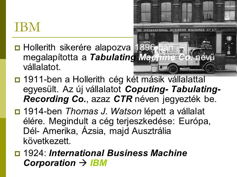 IBM Hollerith sikerére alapozva 1896-ban megalapította a Tabulating Machine Co. nevű vállalatot.