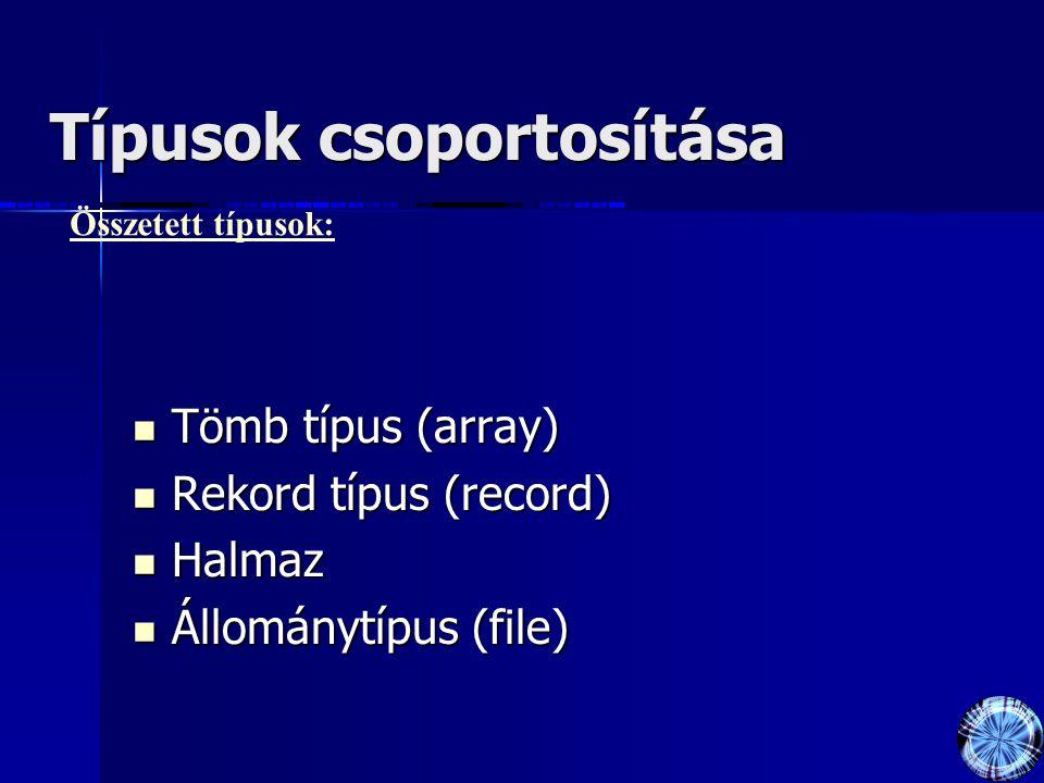Típusok csoportosítása