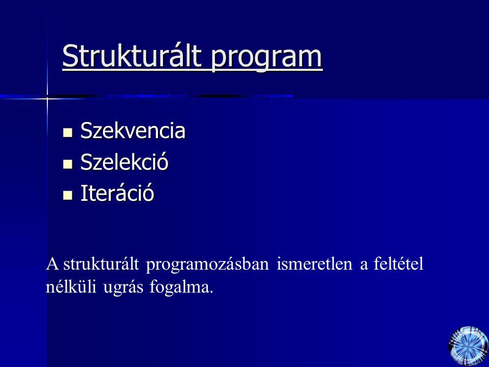Strukturált program Szekvencia Szelekció Iteráció