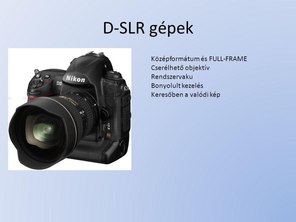 D-SLR gépek Középformátum és FULL-FRAME Cserélhető objektív
