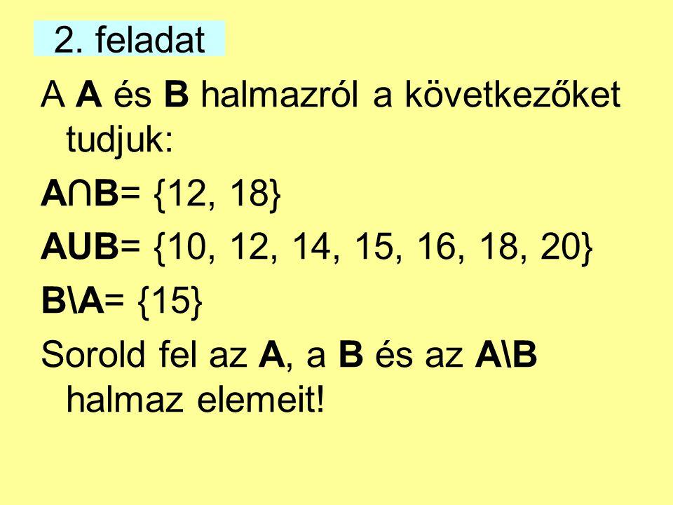 2. feladat A A és B halmazról a következőket tudjuk: A∩B= {12, 18} AUB= {10, 12, 14, 15, 16, 18, 20}