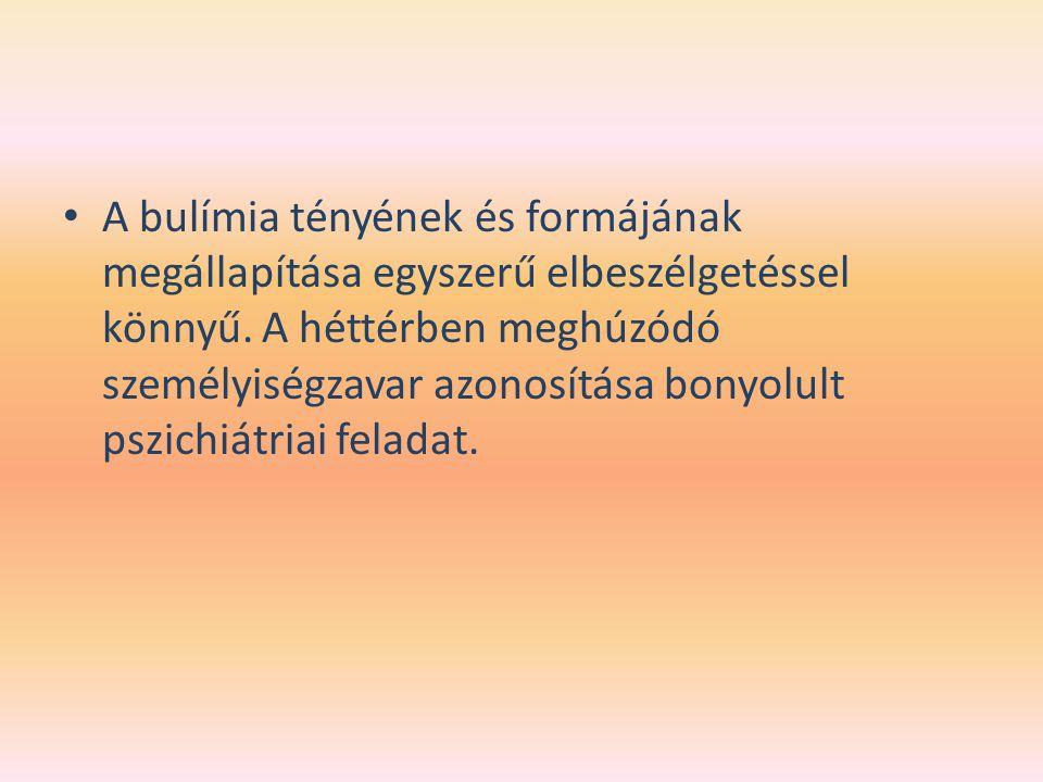 A bulímia tényének és formájának megállapítása egyszerű elbeszélgetéssel könnyű.