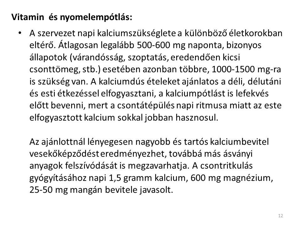 Vitamin és nyomelempótlás: