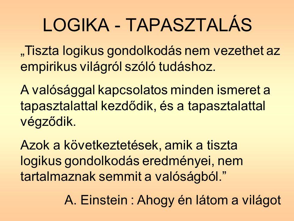 """LOGIKA - TAPASZTALÁS """"Tiszta logikus gondolkodás nem vezethet az empirikus világról szóló tudáshoz."""
