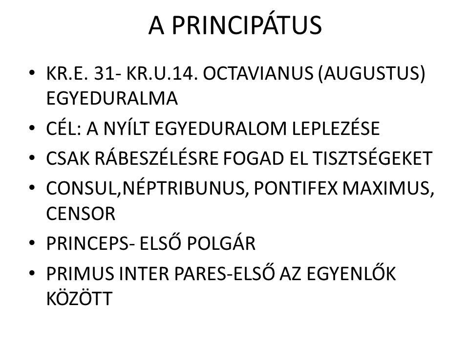 A PRINCIPÁTUS KR.E. 31- KR.U.14. OCTAVIANUS (AUGUSTUS) EGYEDURALMA