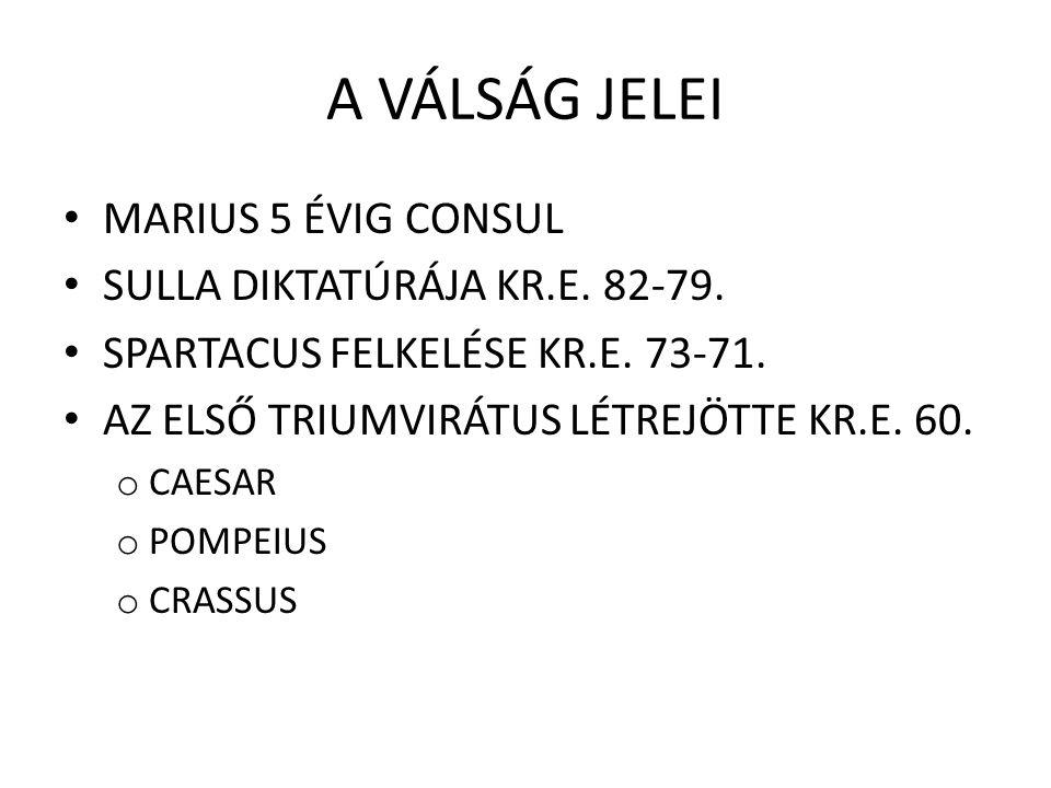 A VÁLSÁG JELEI MARIUS 5 ÉVIG CONSUL SULLA DIKTATÚRÁJA KR.E. 82-79.