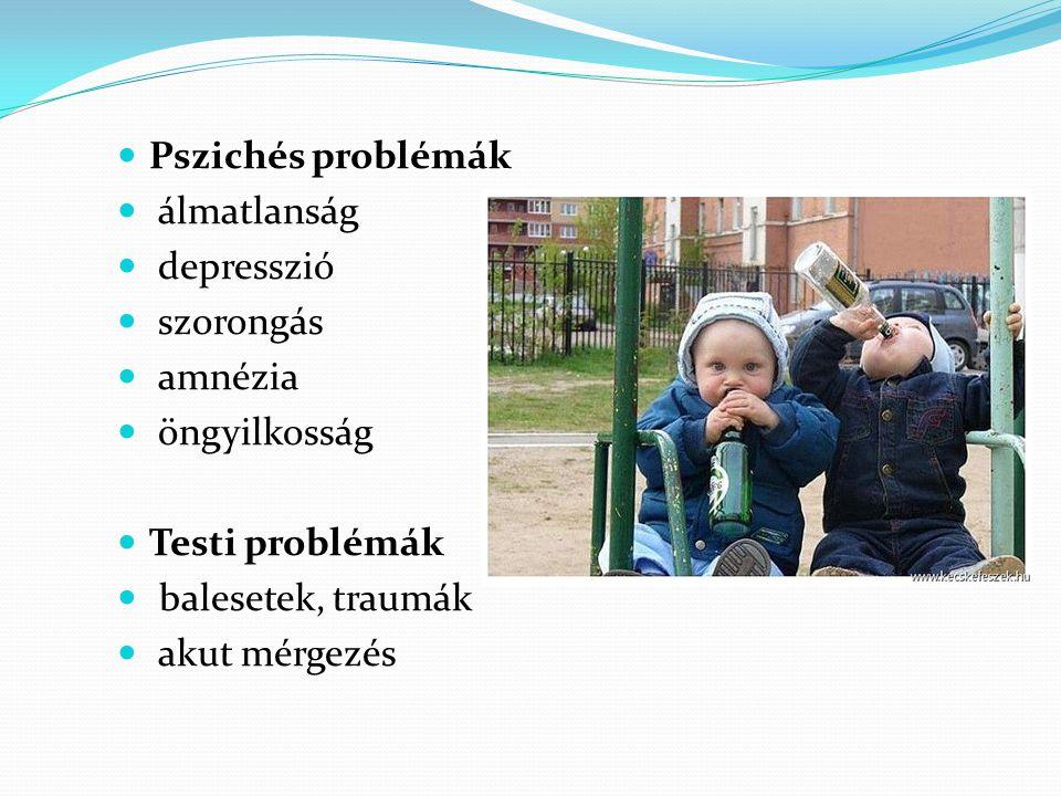 Pszichés problémák álmatlanság. depresszió. szorongás. amnézia. öngyilkosság. Testi problémák.