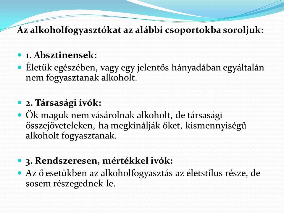 Az alkoholfogyasztókat az alábbi csoportokba soroljuk: