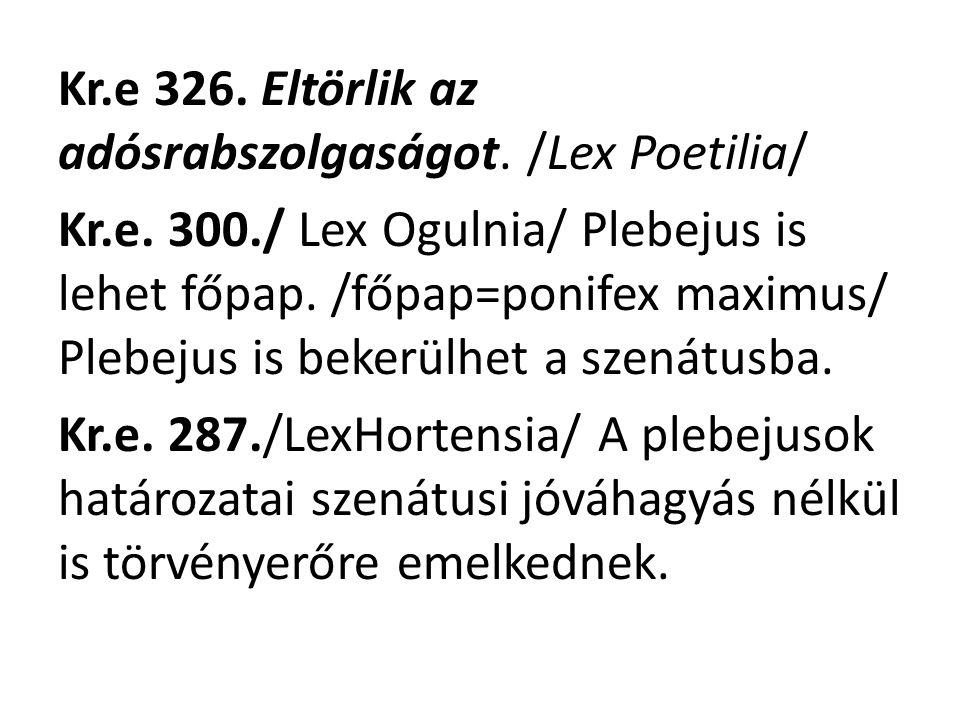Kr. e 326. Eltörlik az adósrabszolgaságot. /Lex Poetilia/ Kr. e. 300
