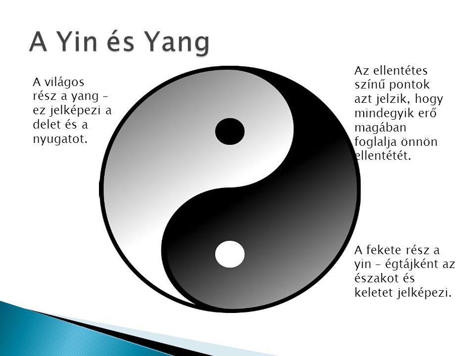 A Yin és Yang Az ellentétes színű pontok azt jelzik, hogy mindegyik erő magában foglalja önnön ellentétét.