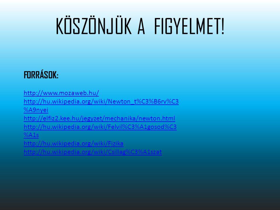 KÖSZÖNJÜK A FIGYELMET! FORRÁSOK: http://www.mozaweb.hu/