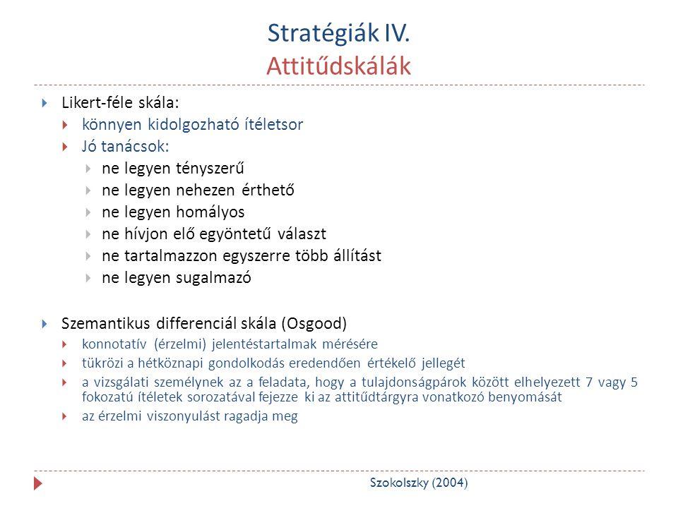 Stratégiák IV. Attitűdskálák
