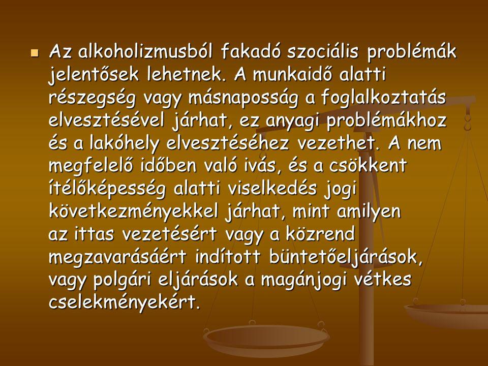 Az alkoholizmusból fakadó szociális problémák jelentősek lehetnek