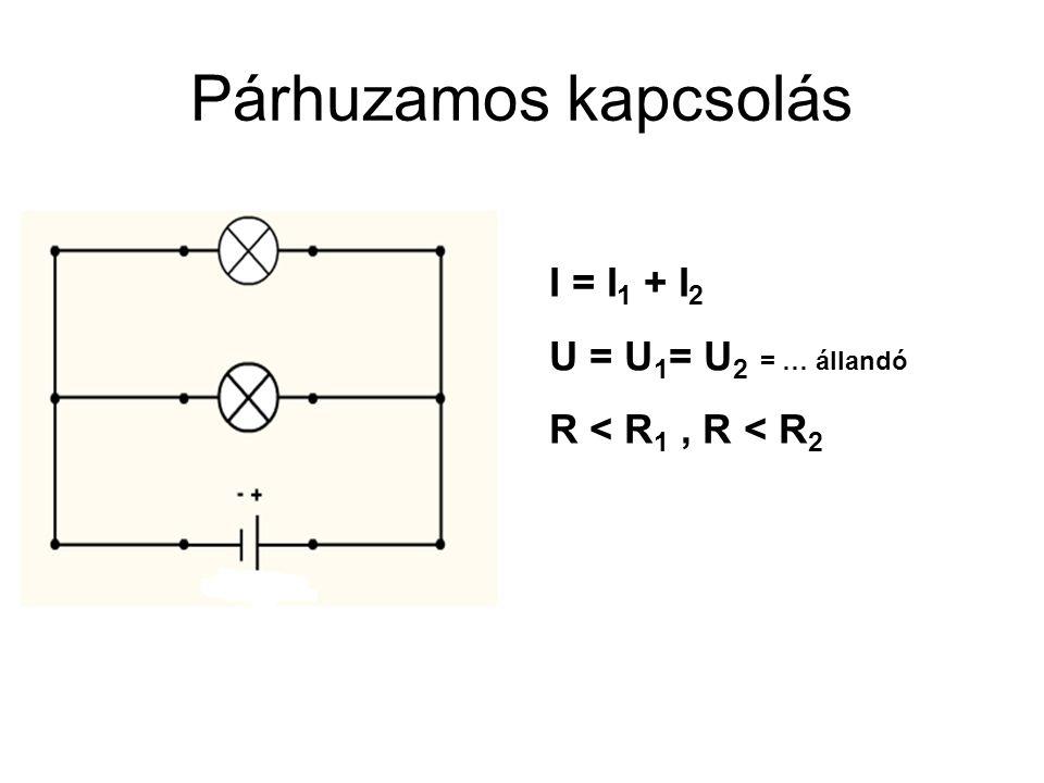 Párhuzamos kapcsolás I = I1 + I2 U = U1= U2 = … állandó