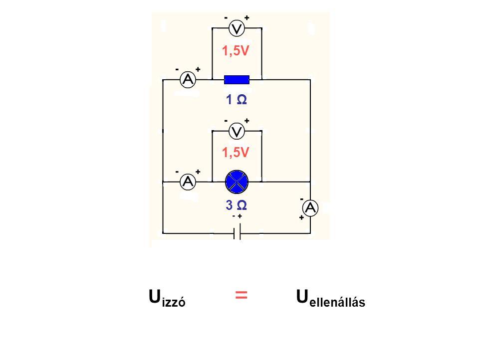 1,5V 1 Ω 1,5V 3 Ω Uizzó Uellenállás =