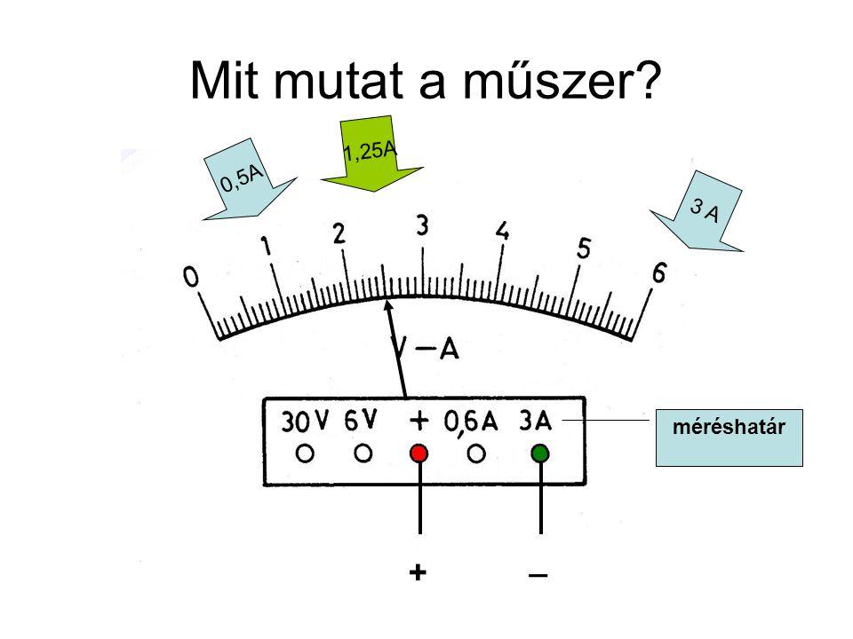 Mit mutat a műszer 1,25A 0,5A 3 A méréshatár _ +