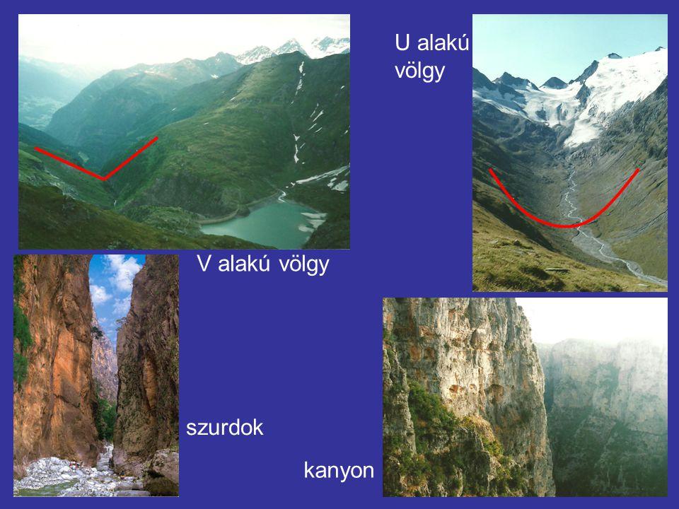 U alakú völgy V alakú völgy szurdok kanyon