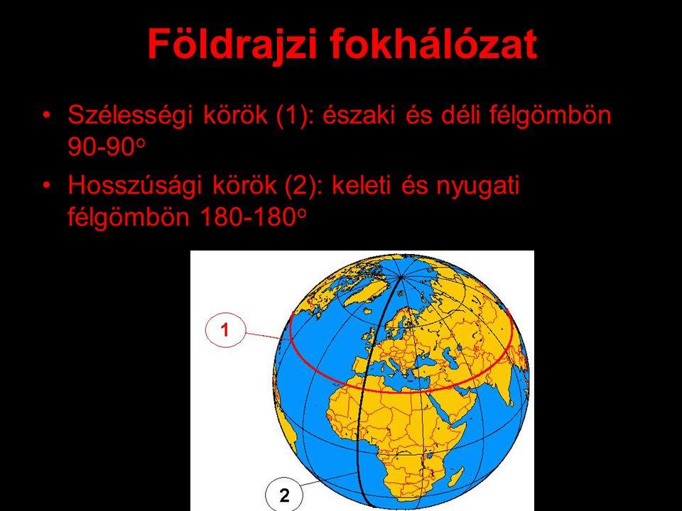 Földrajzi fokhálózat Szélességi körök (1): északi és déli félgömbön 90-90o.
