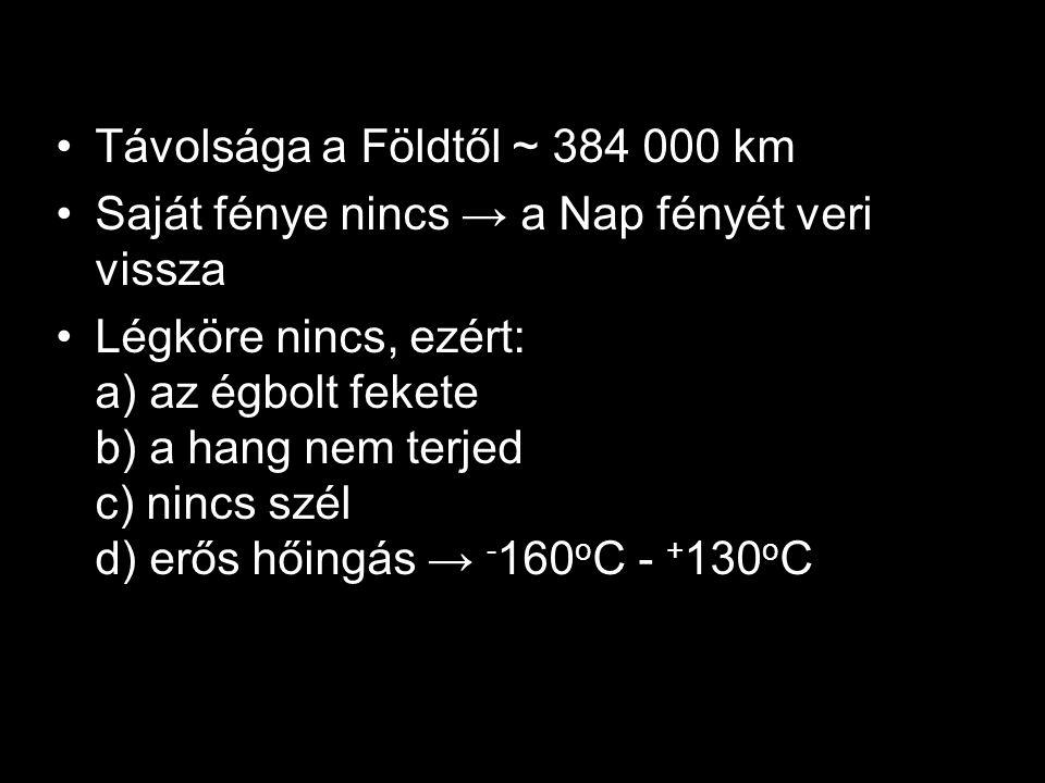 Távolsága a Földtől ~ 384 000 km