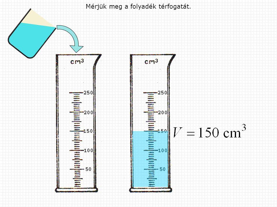 Mérjük meg a folyadék térfogatát.
