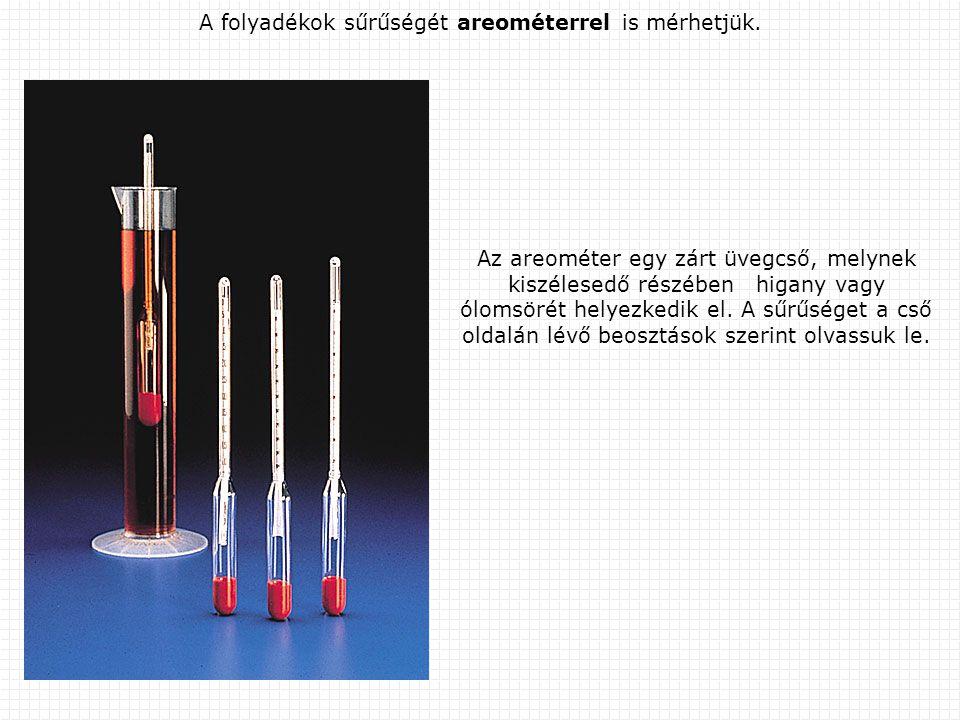 A folyadékok sűrűségét areométerrel is mérhetjük.