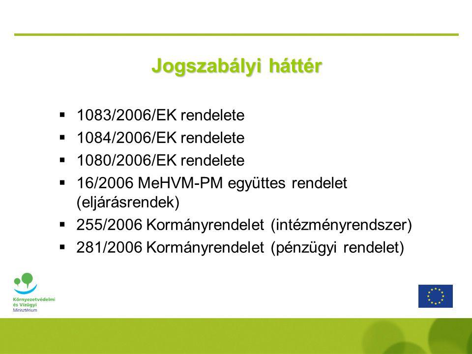 Jogszabályi háttér 1083/2006/EK rendelete 1084/2006/EK rendelete