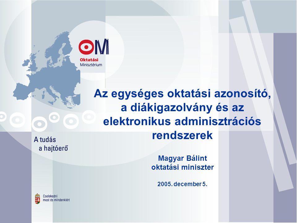 Magyar Bálint oktatási miniszter 2005. december 5.