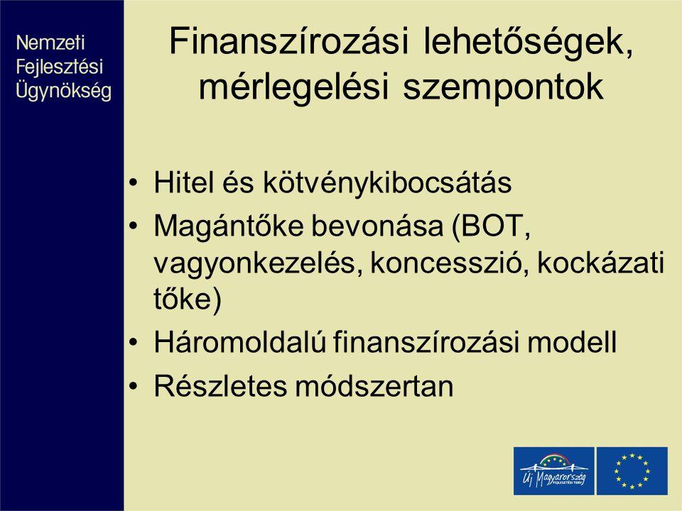 Finanszírozási lehetőségek, mérlegelési szempontok
