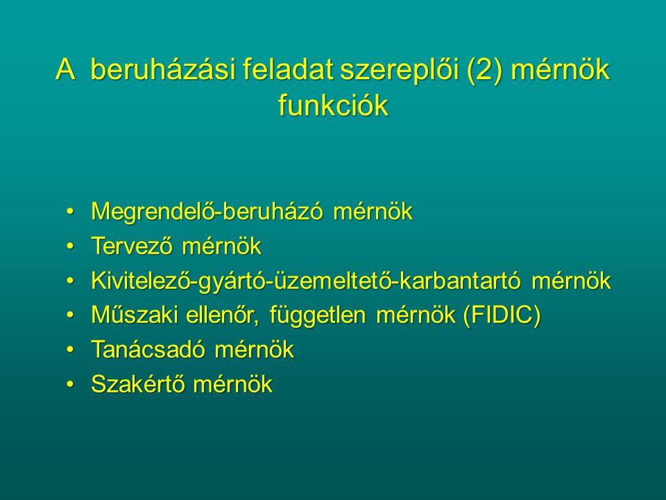A beruházási feladat szereplői (2) mérnök funkciók