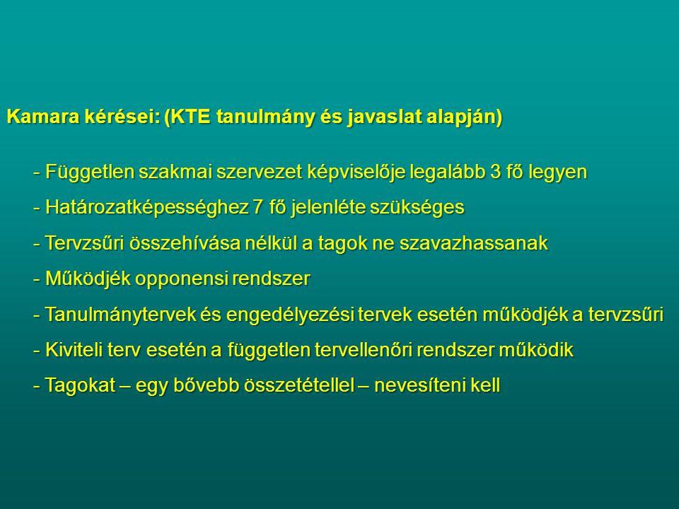 Kamara kérései: (KTE tanulmány és javaslat alapján)