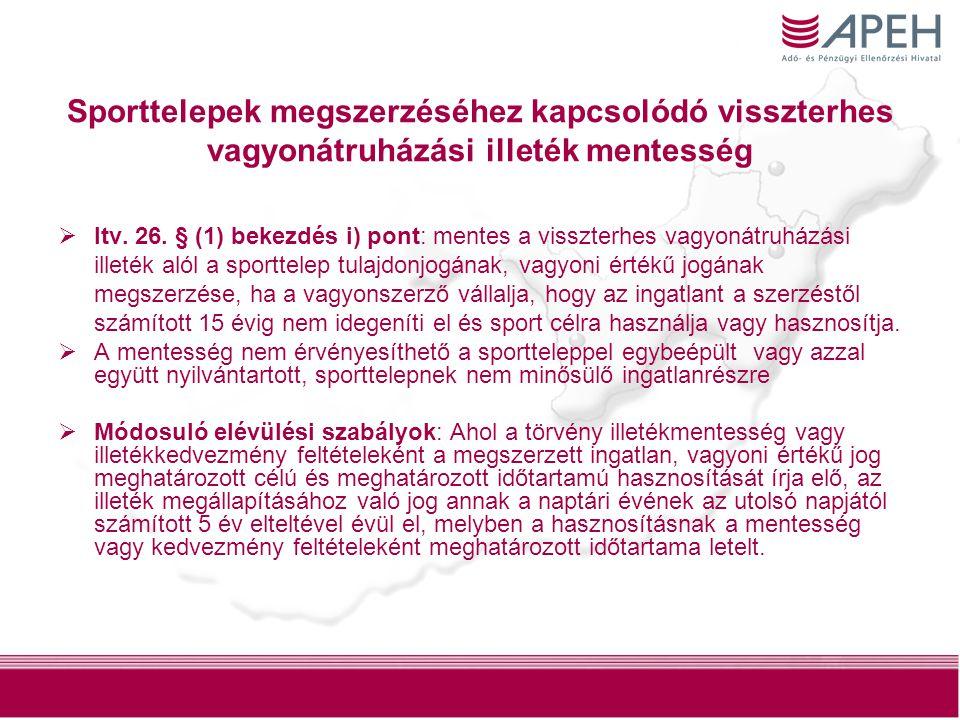Sporttelepek megszerzéséhez kapcsolódó visszterhes vagyonátruházási illeték mentesség