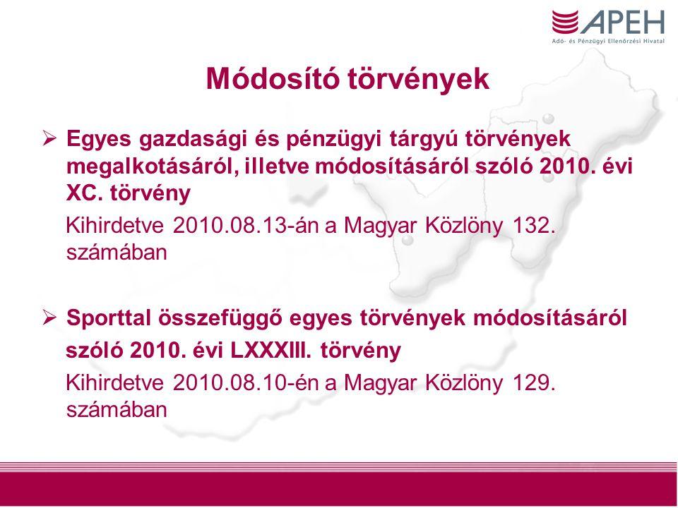 Módosító törvények Egyes gazdasági és pénzügyi tárgyú törvények megalkotásáról, illetve módosításáról szóló 2010. évi XC. törvény.