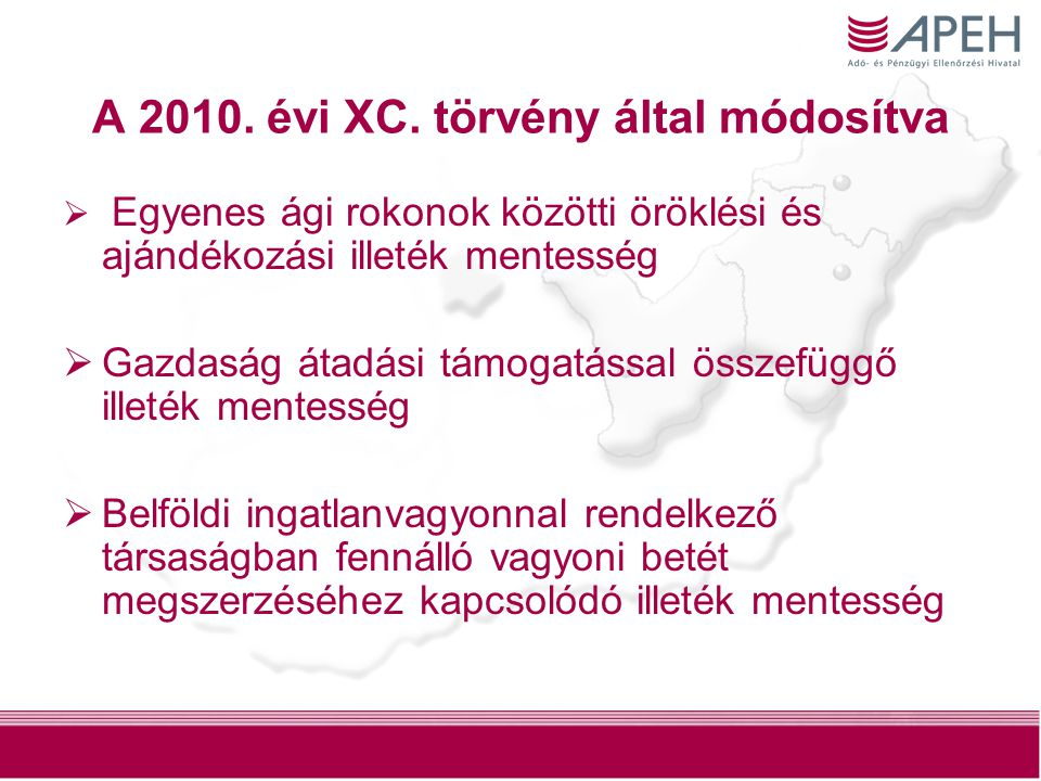 A 2010. évi XC. törvény által módosítva