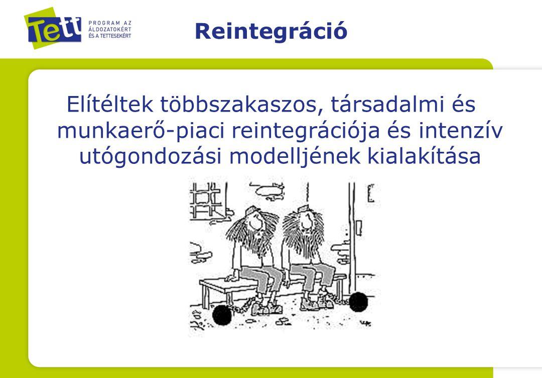 Reintegráció Elítéltek többszakaszos, társadalmi és munkaerő-piaci reintegrációja és intenzív utógondozási modelljének kialakítása.