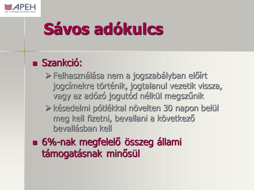 Sávos adókulcs Szankció: