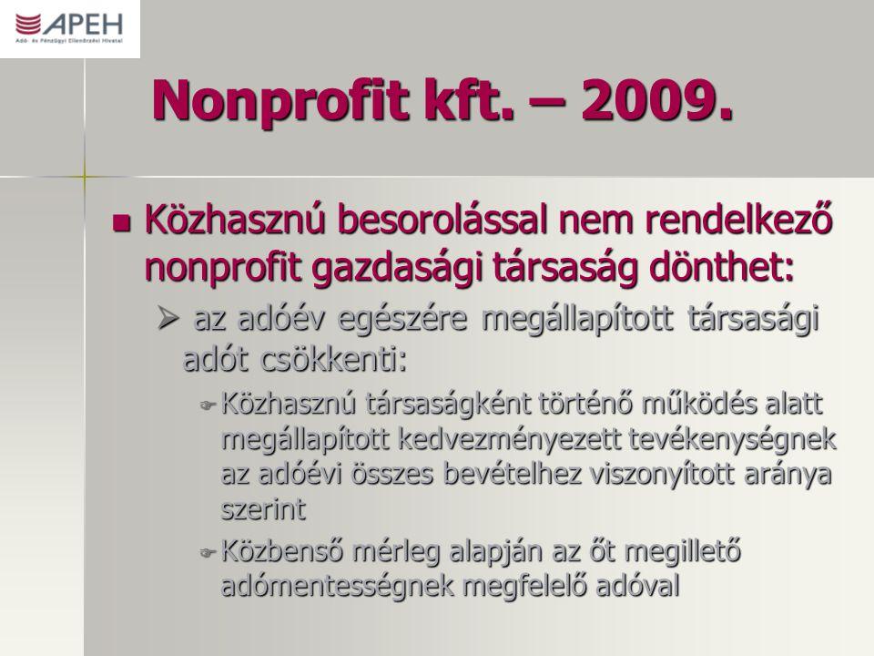 Nonprofit kft. – 2009. Közhasznú besorolással nem rendelkező nonprofit gazdasági társaság dönthet: