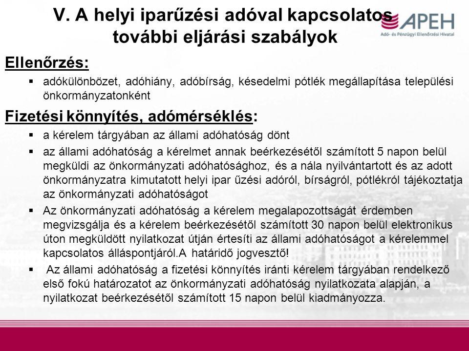 V. A helyi iparűzési adóval kapcsolatos további eljárási szabályok