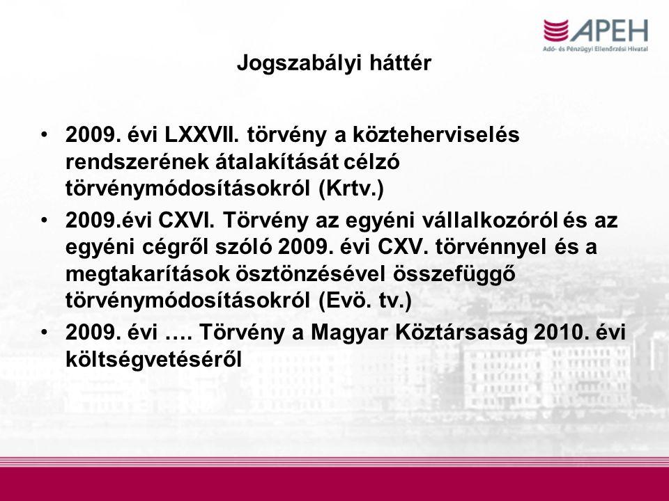 Jogszabályi háttér 2009. évi LXXVII. törvény a közteherviselés rendszerének átalakítását célzó törvénymódosításokról (Krtv.)