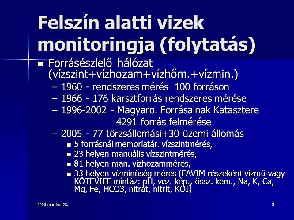Felszín alatti vizek monitoringja (folytatás)